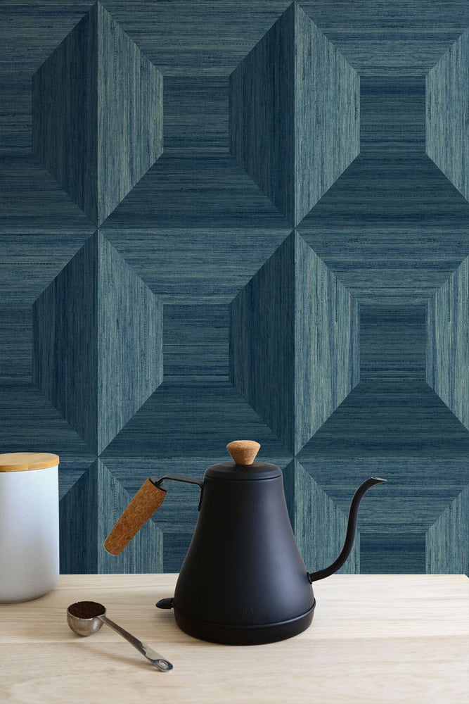 TC70602 kitchen blue squared away geometric embossed vinyl wallpaper from the More Textures collection by Seabrook Designs