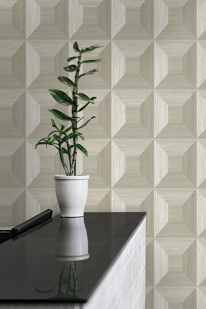 TC70605 plant tan squared away geometric embossed vinyl wallpaper from the More Textures collection by Seabrook Designs