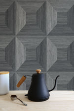 TC70608 kitchen gray squared away geometric embossed vinyl wallpaper from the More Textures collection by Seabrook Designs