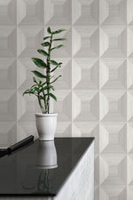 TC70618 plant gray squared away geometric embossed vinyl wallpaper from the More Textures collection by Seabrook Designs