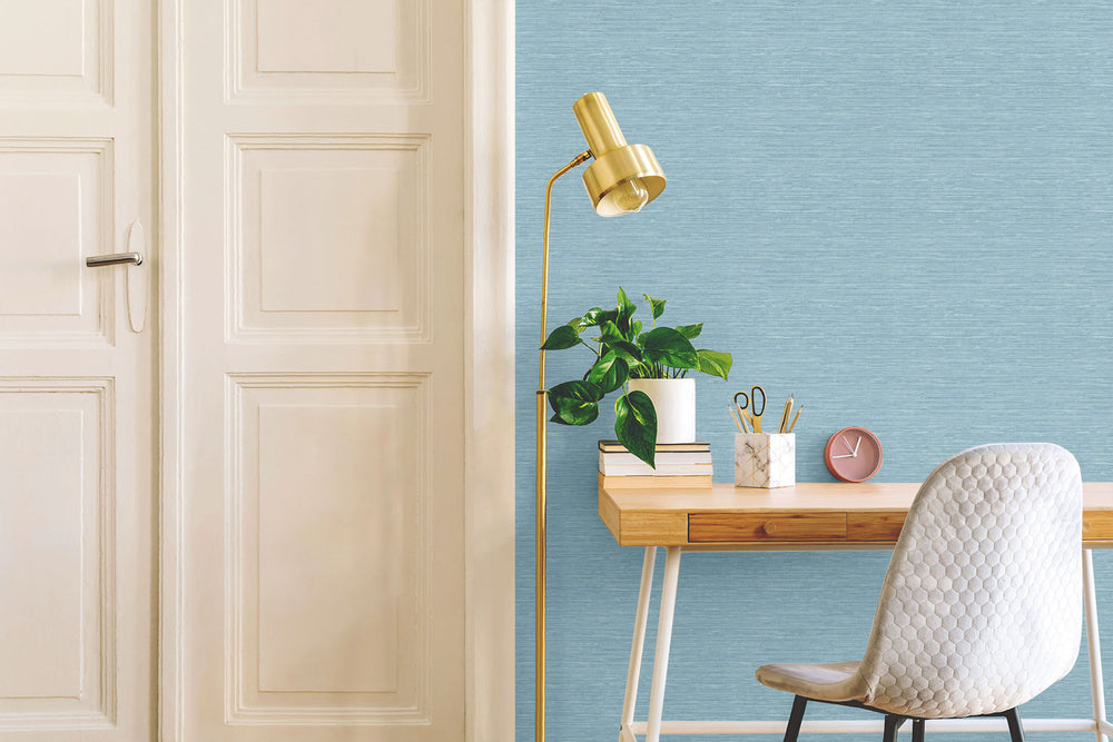 TC70702 desk blue sisal hemp grasscloth embossed vinyl wallpaper from the More Textures collection by Seabrook Designs