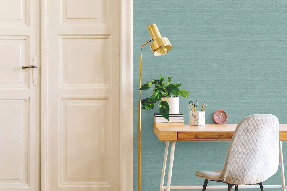 TC70704 desk teal sisal hemp grasscloth embossed vinyl wallpaper from the More Textures collection by Seabrook Designs