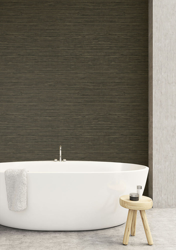 TC70706 bathroom brown sisal hemp grasscloth embossed vinyl wallpaper from the More Textures collection by Seabrook Designs