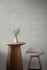 TC70708 table gray sisal hemp grasscloth embossed vinyl wallpaper from the More Textures collection by Seabrook Designs