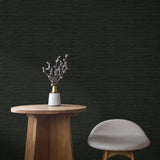 TC70710 table black sisal hemp grasscloth embossed vinyl wallpaper from the More Textures collection by Seabrook Designs