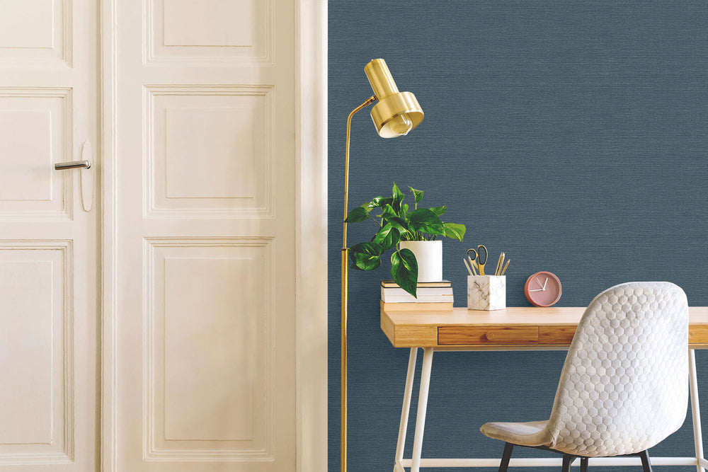 TC70712 desk blue sisal hemp grasscloth embossed vinyl wallpaper from the More Textures collection by Seabrook Designs