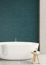 TC70714 bathroom teal sisal hemp grasscloth embossed vinyl wallpaper from the More Textures collection by Seabrook Designs
