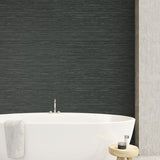TC70718 bathroom gray sisal hemp grasscloth embossed vinyl wallpaper from the More Textures collection by Seabrook Designs