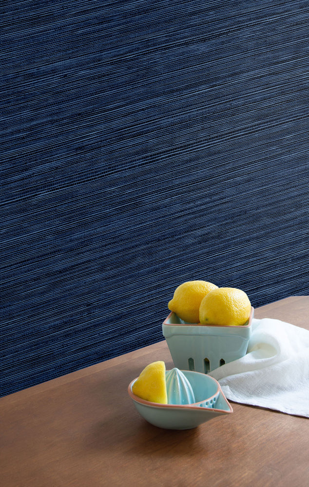 TC70722 kitchen blue sisal hemp grasscloth embossed vinyl wallpaper from the More Textures collection by Seabrook Designs