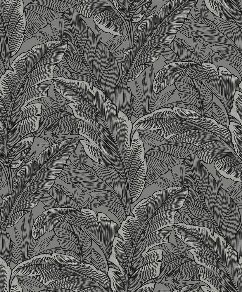 Etten Gallerie Black & White Palm Leaves Botanical Wallpaper