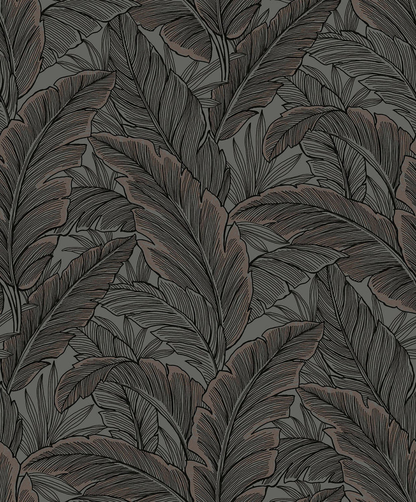 UK10048 palm leaf botanical wallpaper from the Black and White collection by Etten Gallerie