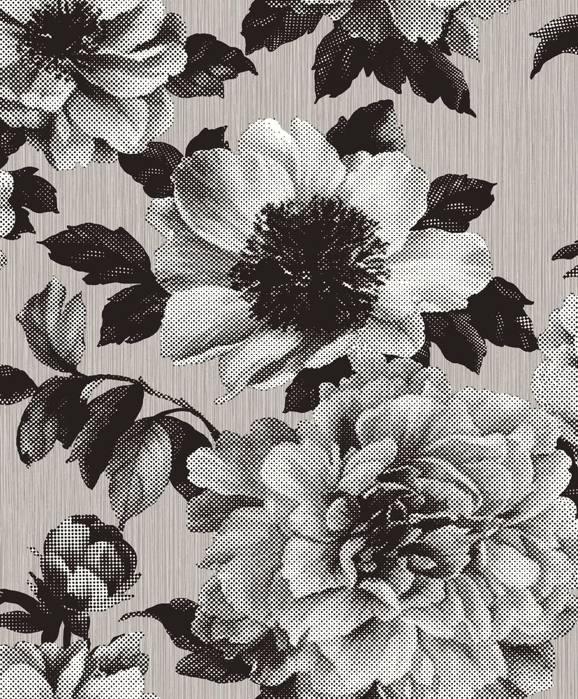 Etten Gallerie Black & White Halftone Floral Wallpaper