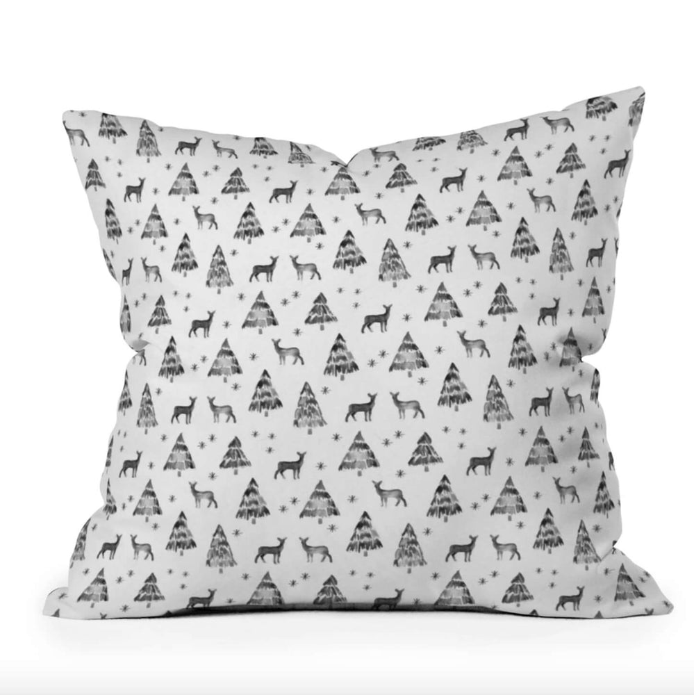 Winter Deer Holiday Throw Pillow