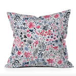 Winter Ink Florals Holiday Throw Pillow
