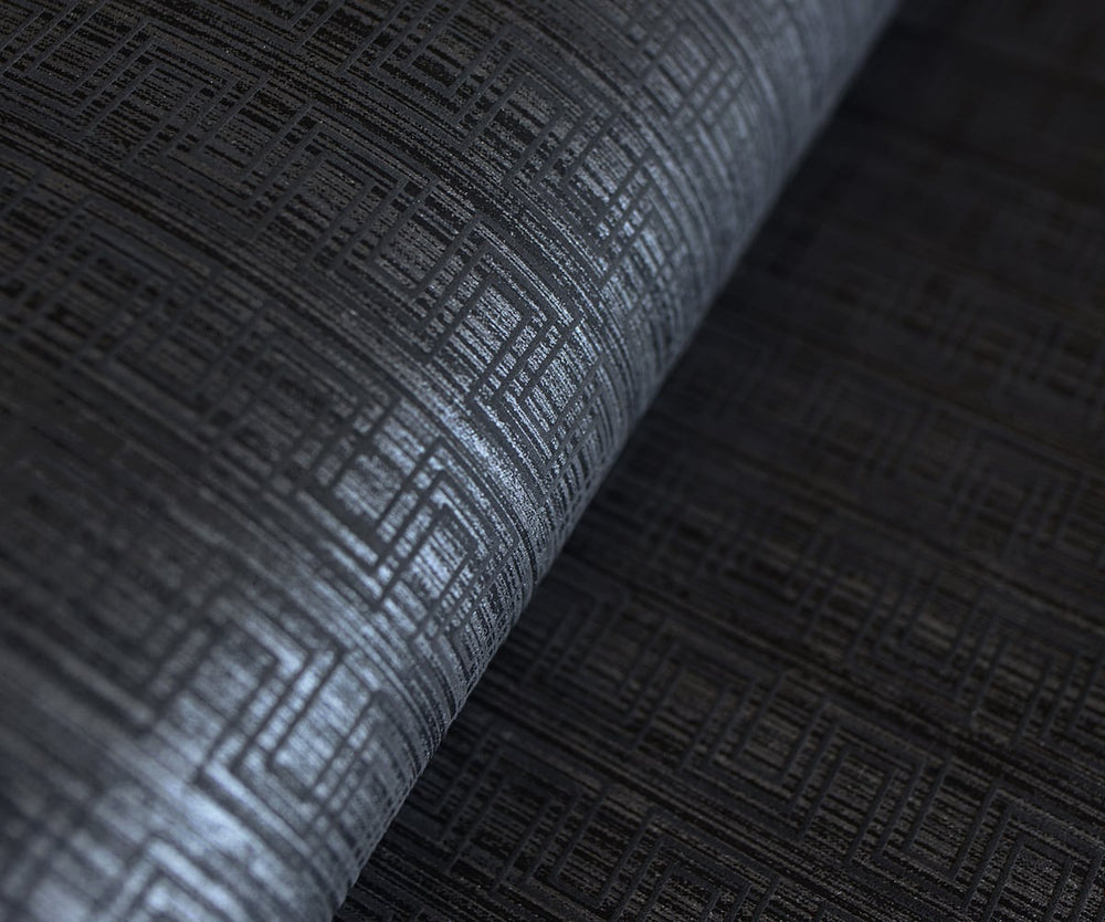 ZN51800 Ueno stitched geometric wallpaper roll from the Black and White collection by Etten Gallerie