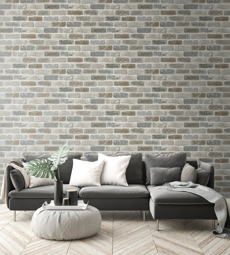 NextWall Washed Faux Brick Peel and Stick Removable Wallpaper