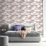 NextWall Mod Triangles Pink and Silver Peel and Stick Removable Wallpaper