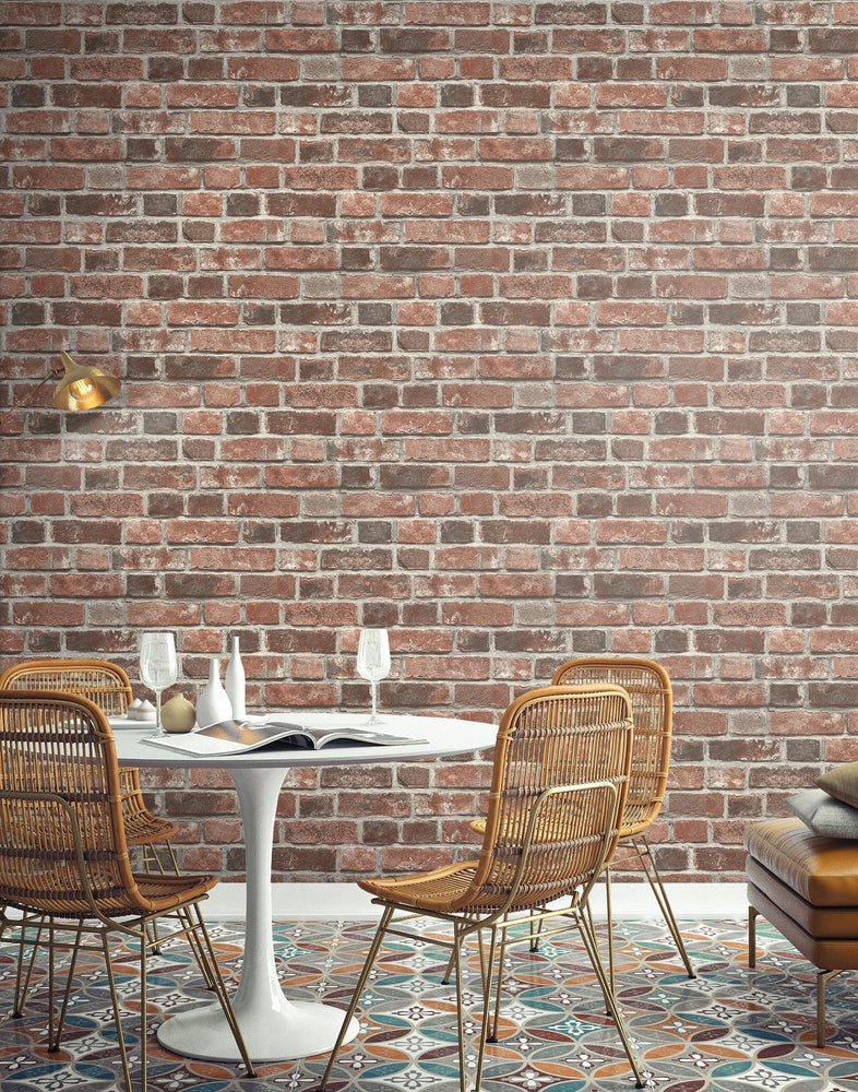 NextWall Distressed Red Brick Peel and Stick Removable Wallpaper