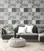 NextWall Black and White Graphic Tile Peel and Stick Removable Wallpaper