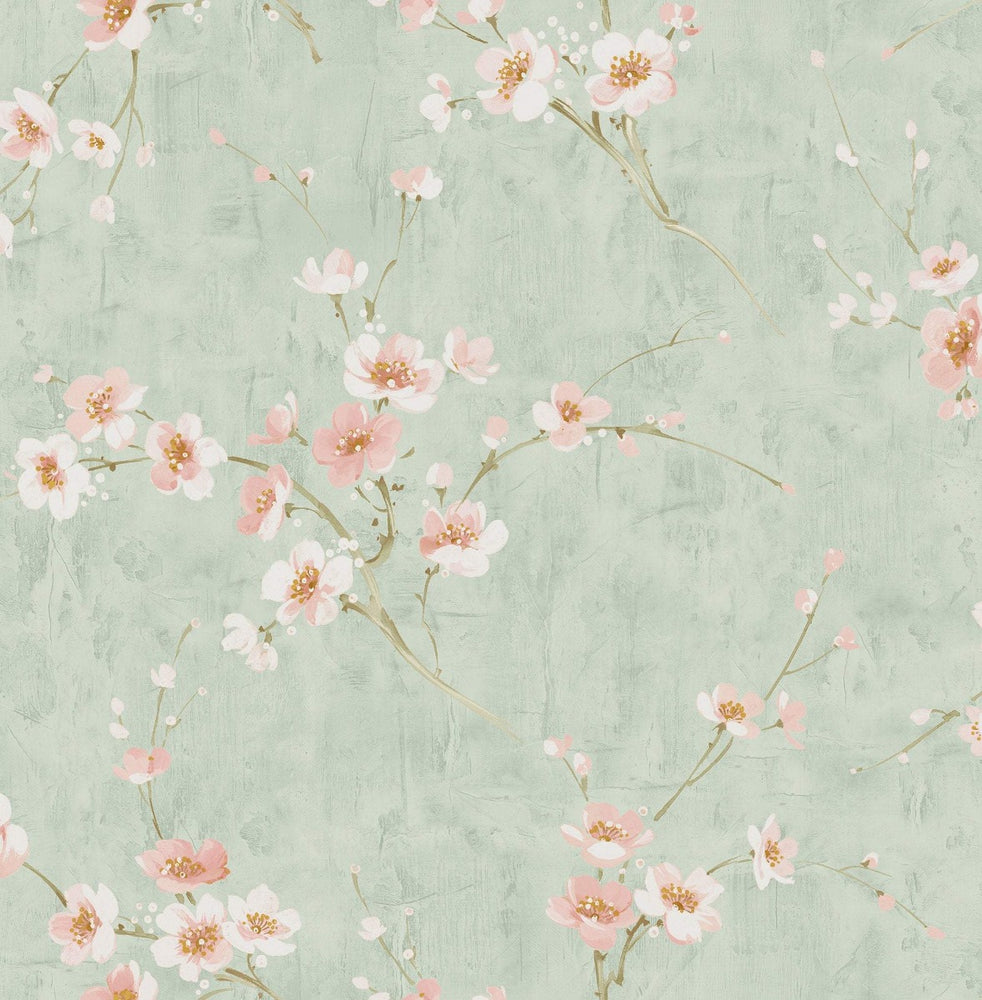 AI41604 teal silk road floral wallpaper from the Koi collection by Seabrook Designs
