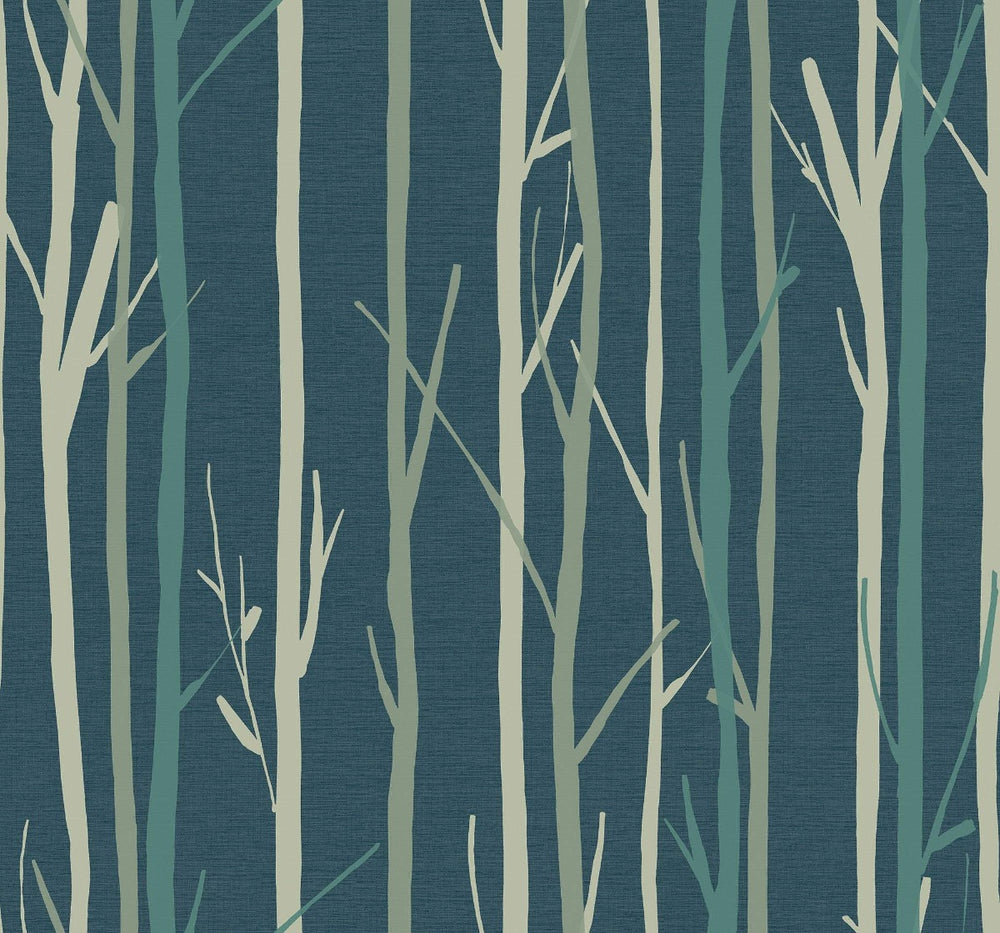 OA20202 branch botanical wallpaper from the Indigo collection by Seabrook Designs