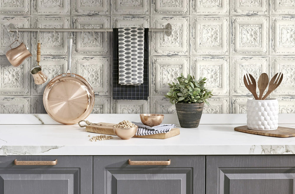 NextWall Distressed Tin Tile Peel and Stick Removable Wallpaper