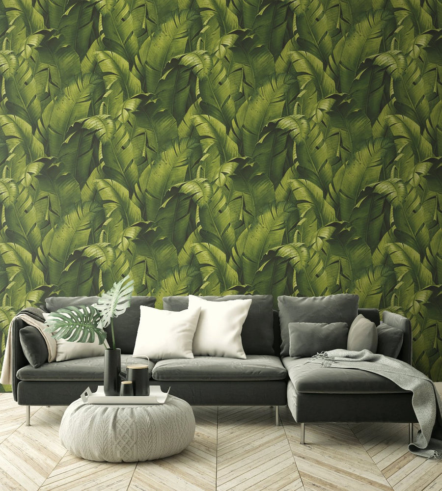 NextWall Tropical Banana Leaf Peel and Stick Removable Wallpaper
