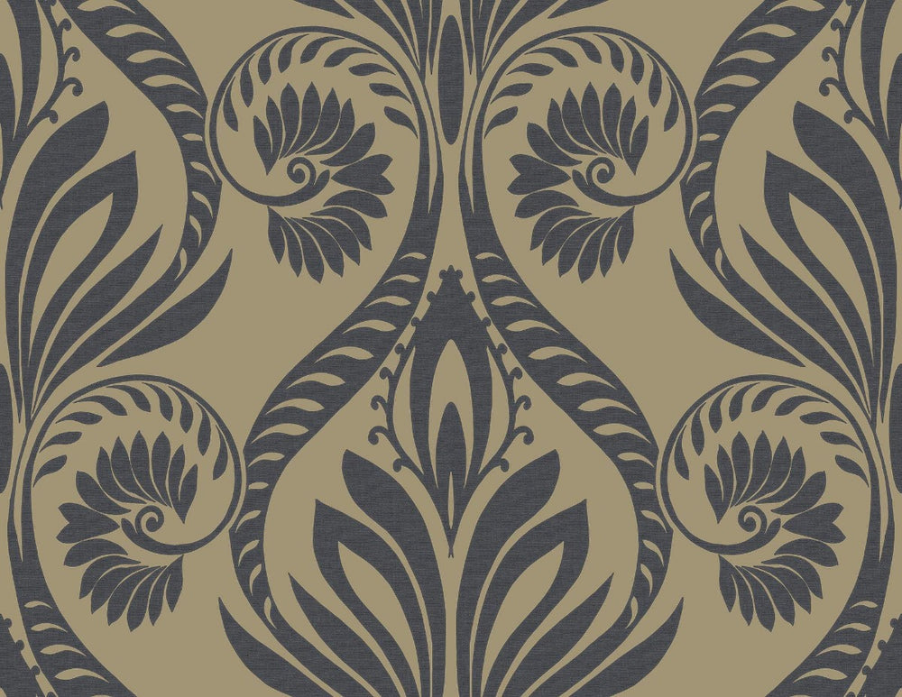 TA21000 bonaire retro damask wallpaper from the Tortuga collection by Seabrook Designs