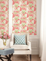 TA21601 pink dominica tropical leaf wallpaper from the Tortuga collection by Seabrook Designs