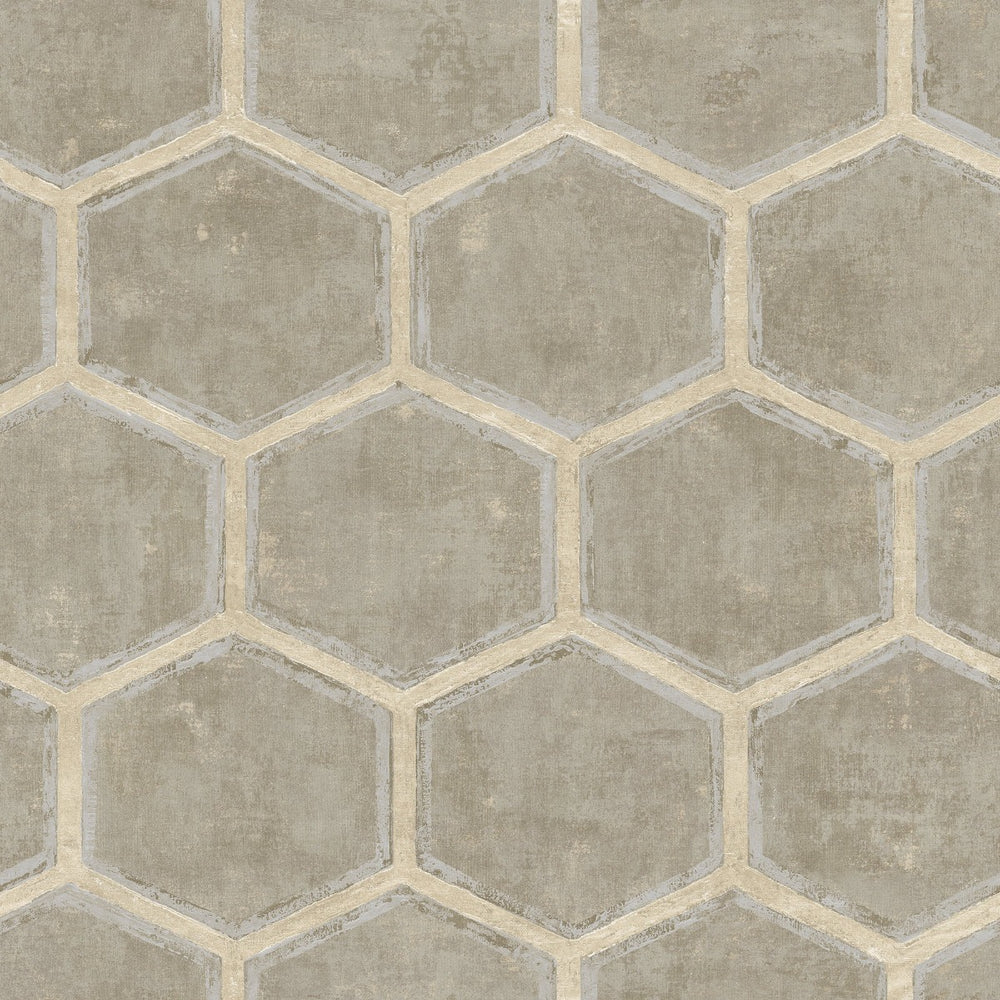 MW31507 Wright geometric hexagon wallpaper from the Metalworks collection by Seabrook Designs