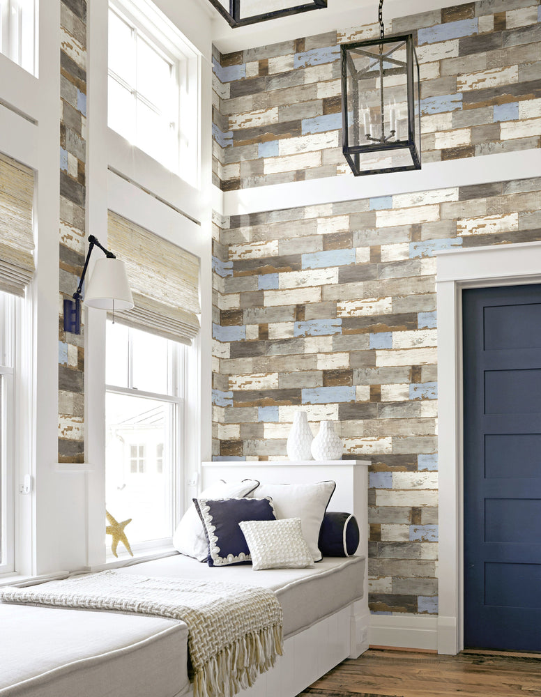 NextWall Colorful Coastal Shiplap Peel and Stick Removable Wallpaper