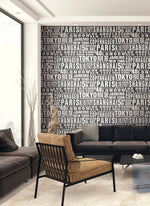 NextWall Around the World Black and White Peel and Stick Removable Wallpaper