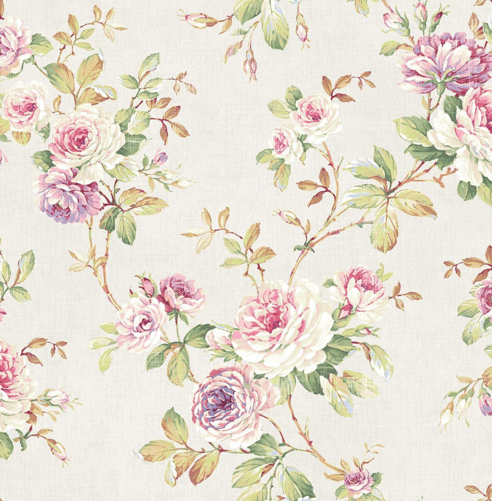 RG61411 floral trail wallpaper from the Garden Rose collection by Seabrook Designs