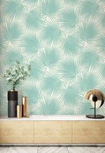 TA20202 teal aruba palm leaf tropical wallpaper from the Tortuga collection by Seabrook Designs
