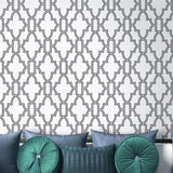 NextWall Black and White Tile Trellis Peel and Stick Removable Wallpaper