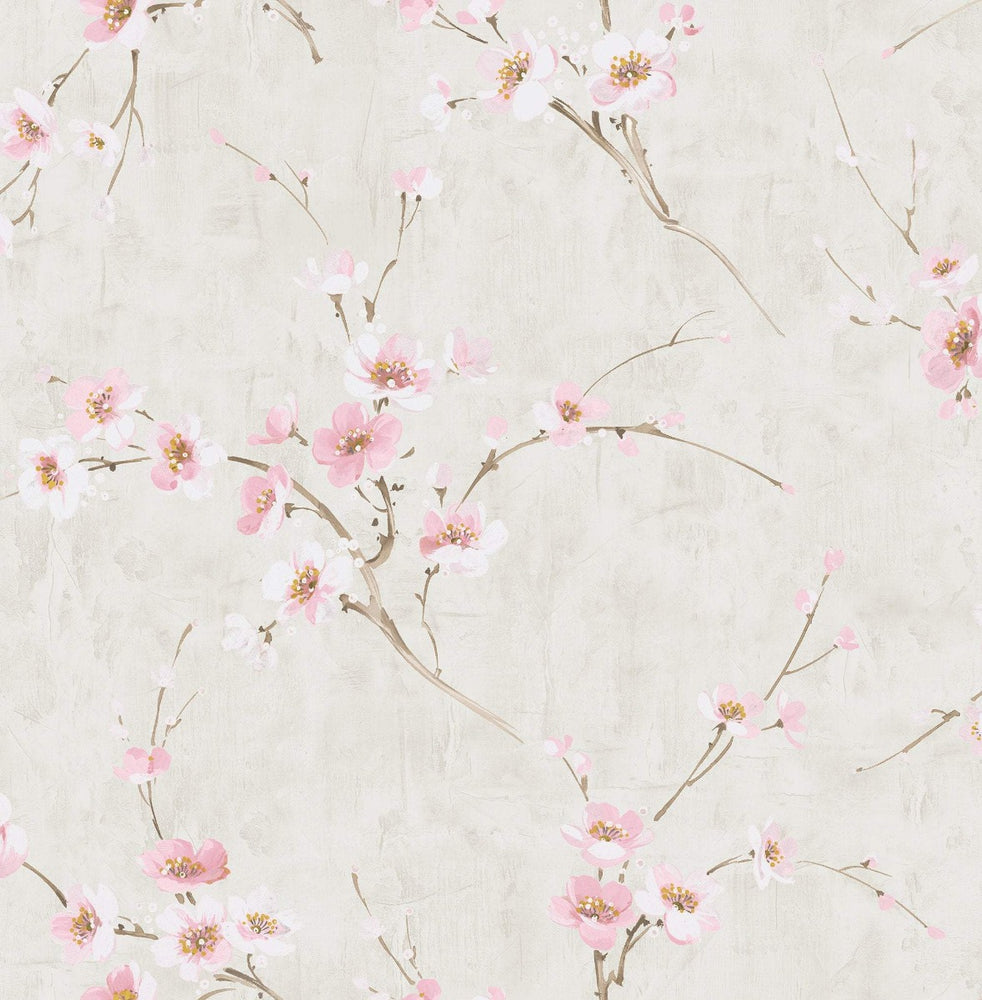 AI41601 pink silk road floral wallpaper from the Koi collection by Seabrook Designs