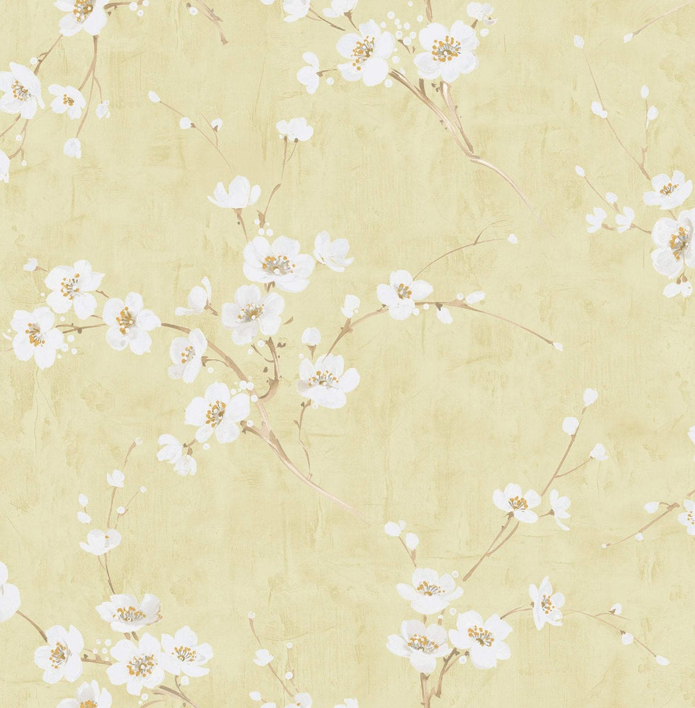 AI41603 gold silk road floral wallpaper from the Koi collection by Seabrook Designs
