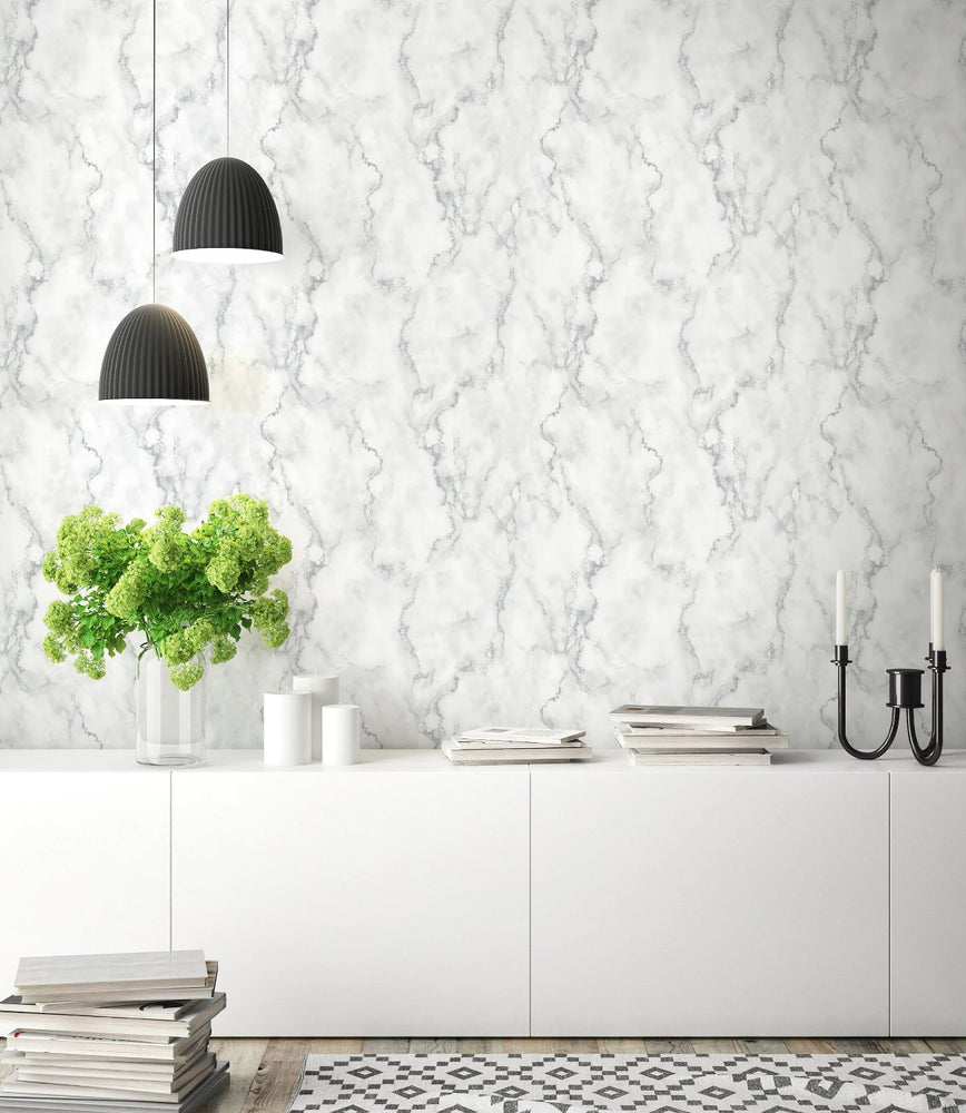 NextWall Faux Marble Silver Peel and Stick Removable Wallpaper