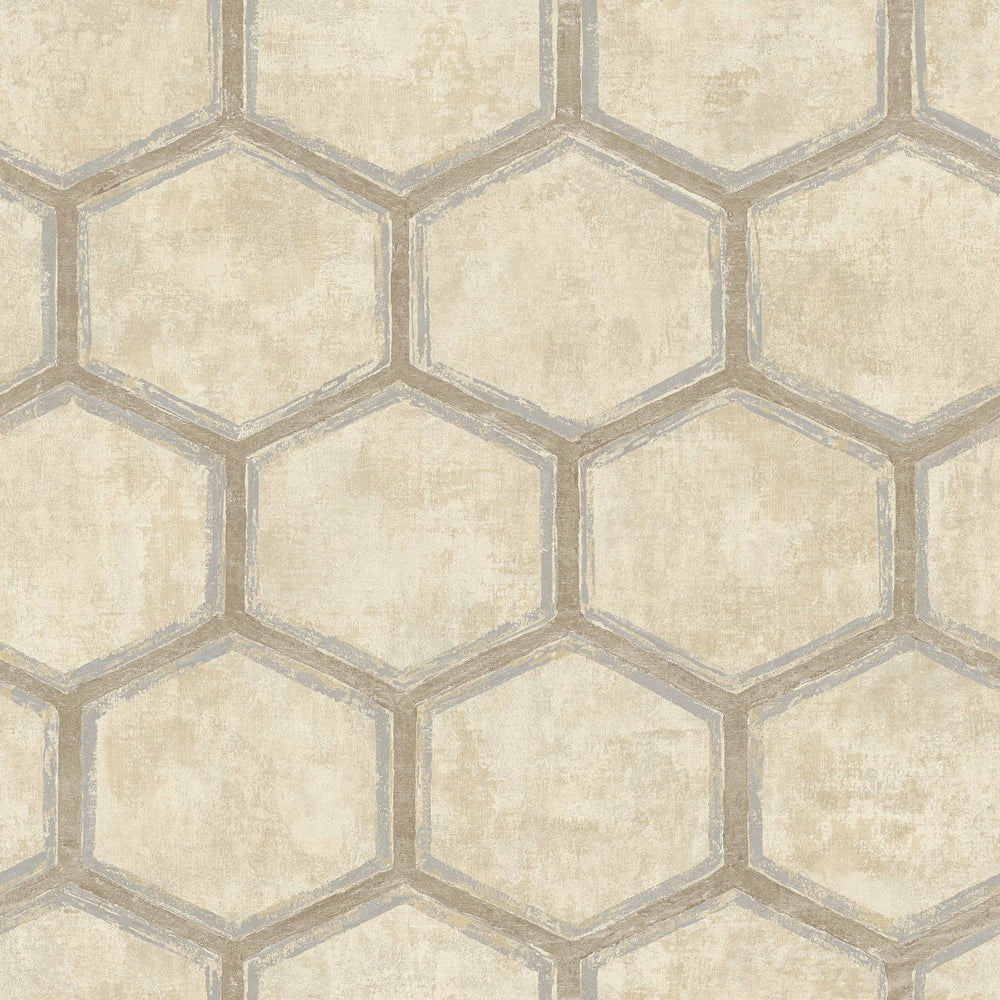 MW31505 Wright geometric hexagon wallpaper from the Metalworks collection by Seabrook Designs