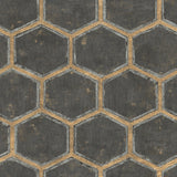 MW31500 Wright geometric hexagon wallpaper from the Metalworks collection by Seabrook Designs
