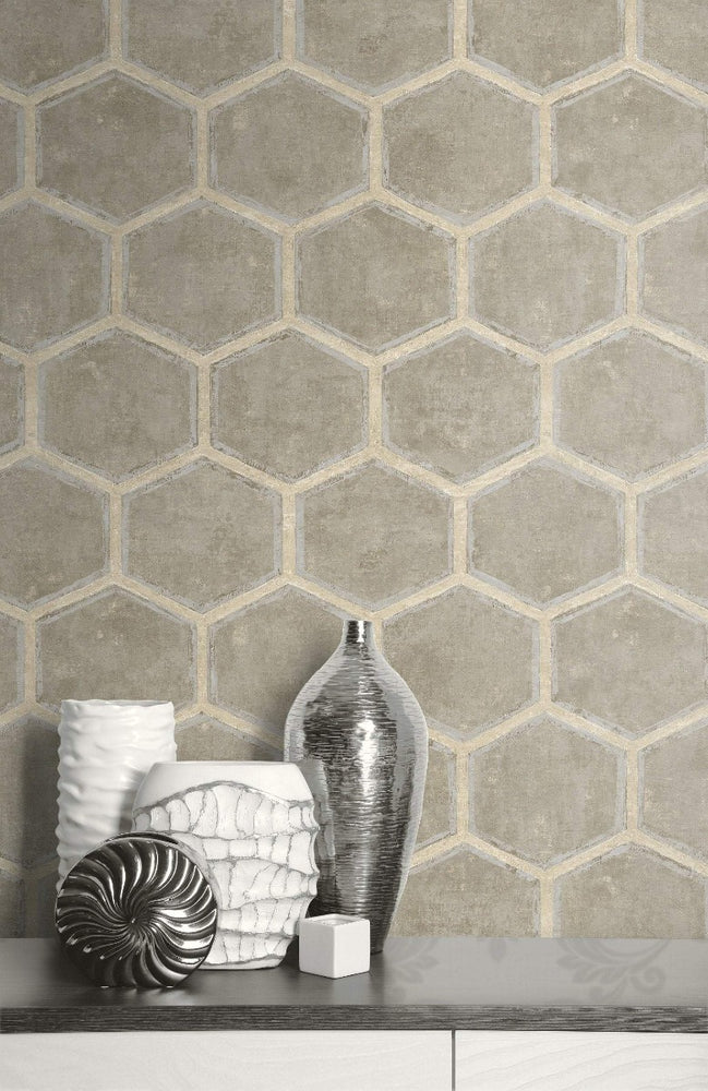 MW31507 Wright geometric hexagon wallpaper decor from the Metalworks collection by Seabrook Designs