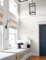 NextWall Off-White Shiplap Peel and Stick Removable Wallpaper