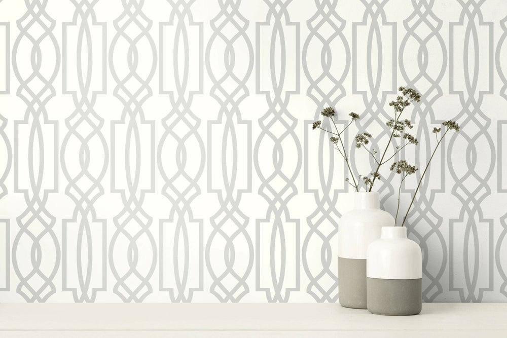 NextWall Soft Gray Deco Lattice Peel and Stick Removable Wallpaper