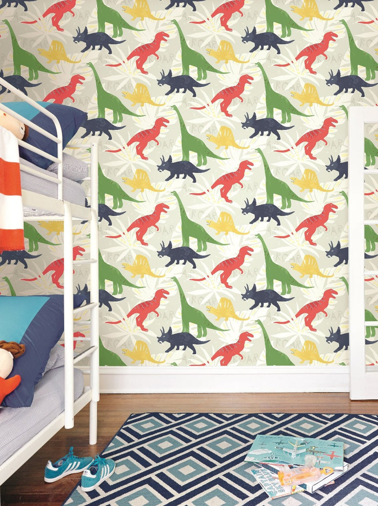FA40001 pack party dinosaur kids wallpaper from the Playdate Adventure collection by Seabrook Designs
