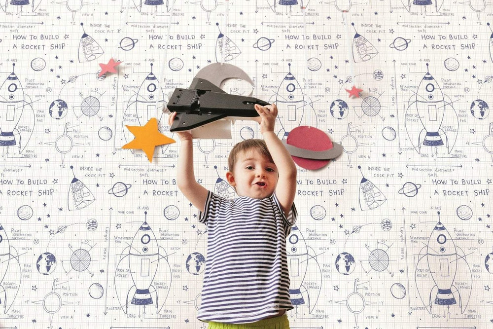 DA60700 rocket ship kids wallpaper decor from the Day Dreamers collection by Seabrook Designs