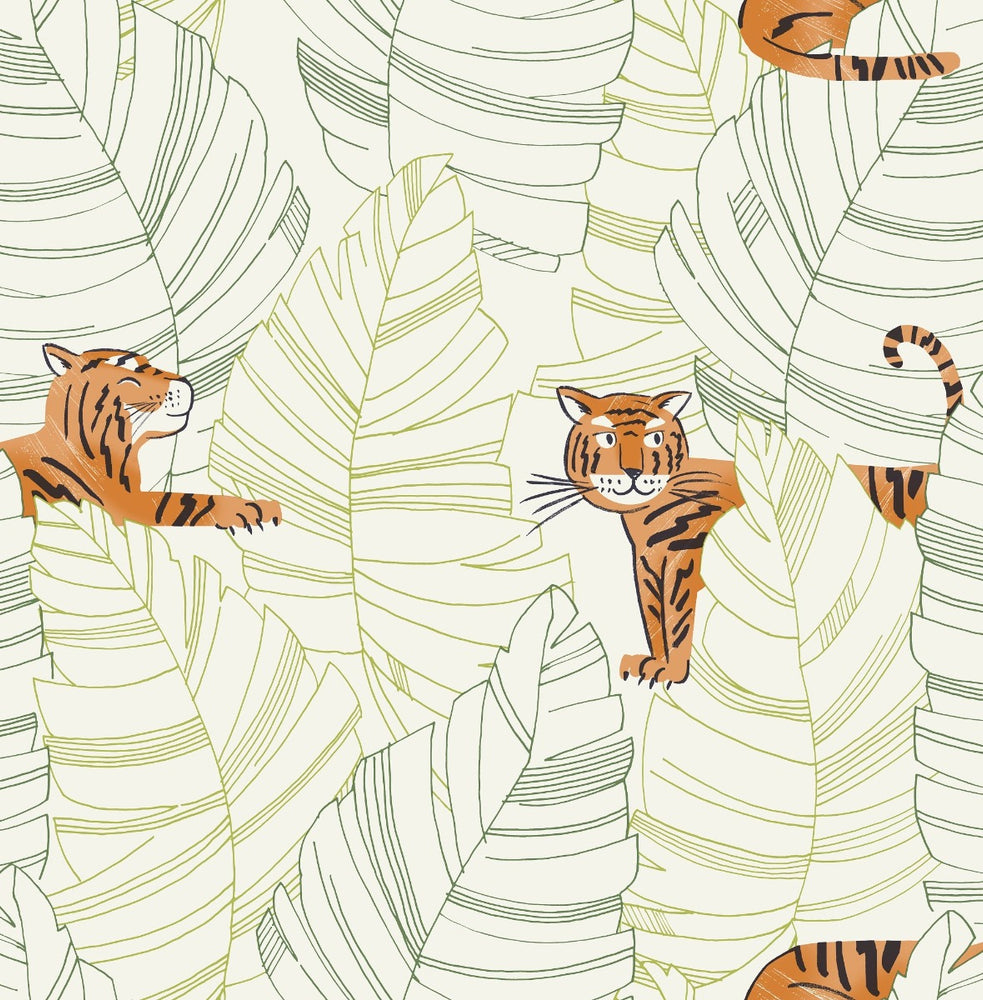 DA61204 hiding tigers animal wallpaper from the Day Dreamers collection by Seabrook Designs