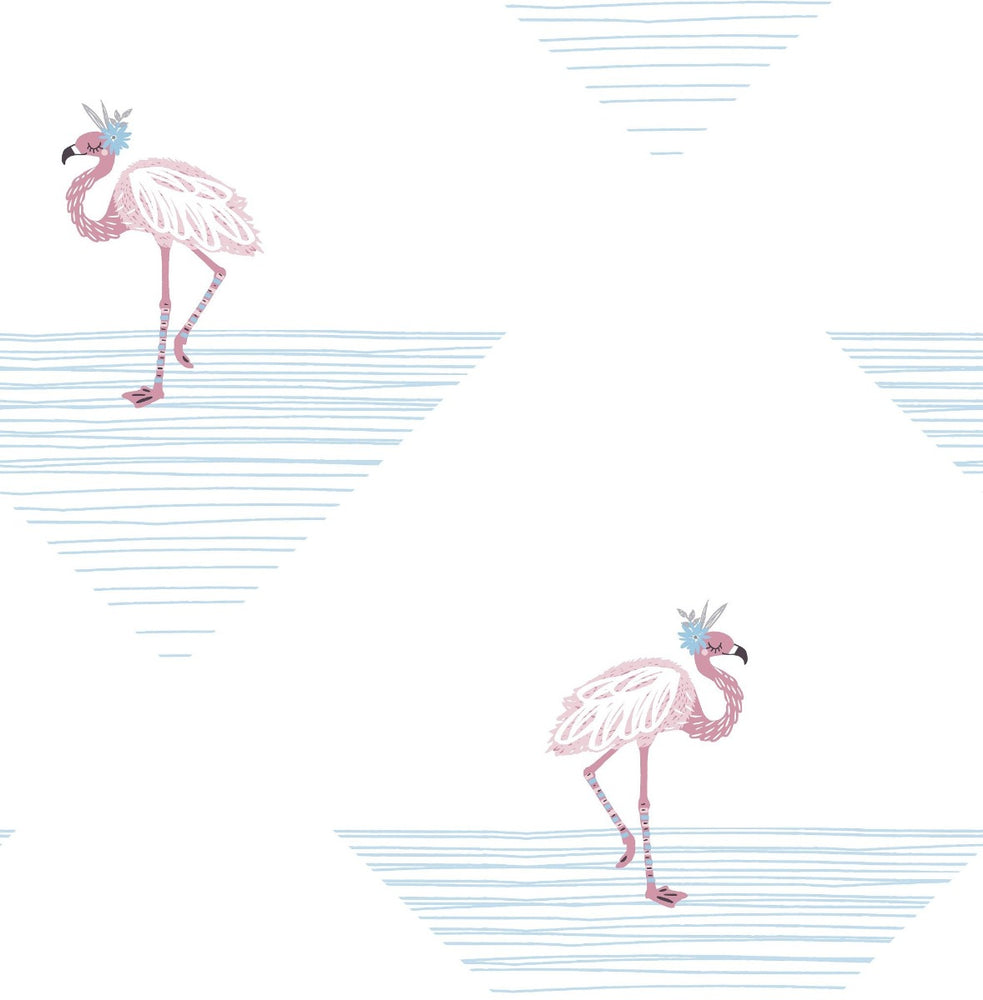 DA61702 dancing flamingos kids wallpaper from the Day Dreamers collection by Seabrook Designs