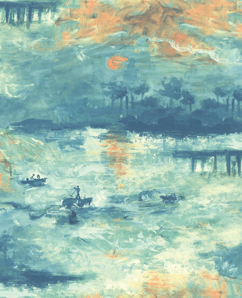 FI70004 nautical sunset scenic wallpaper from the French Impressionist collection by Seabrook Designs