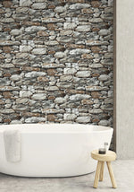 NextWall Faux Stone Peel and Stick Removable Wallpaper