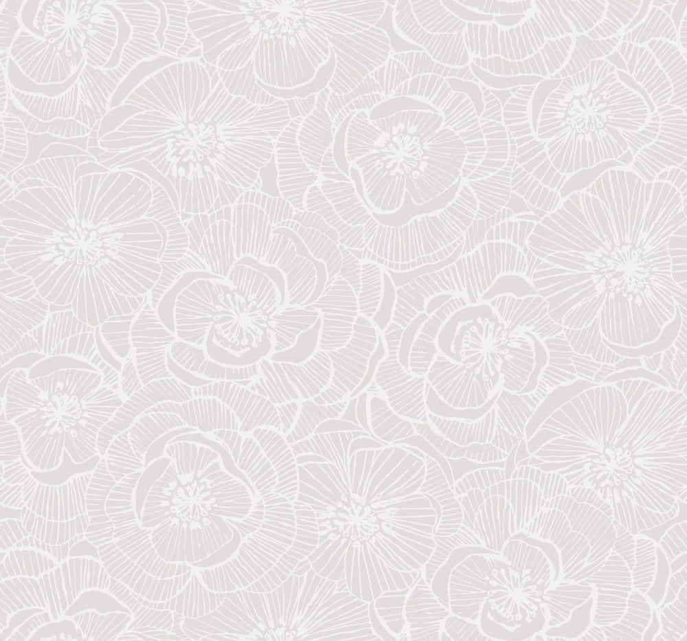 AW71001 Jardine graphic floral wallpaper from the Casa Blanca 2 collection by Collins & Company